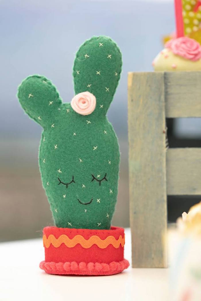 Felt Cactus Decoration from a Colorful Llama and Cactus Birthday Party on Kara's Party Ideas | KarasPartyIdeas.com (7)