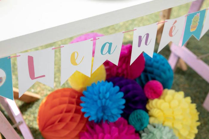 Colorful Pennant Banner from a Colorful Llama and Cactus Birthday Party on Kara's Party Ideas | KarasPartyIdeas.com (5)