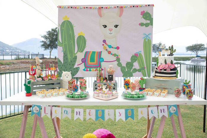 Cactus and Llama Themed Dessert Table from a Colorful Llama and Cactus Birthday Party on Kara's Party Ideas | KarasPartyIdeas.com (41)