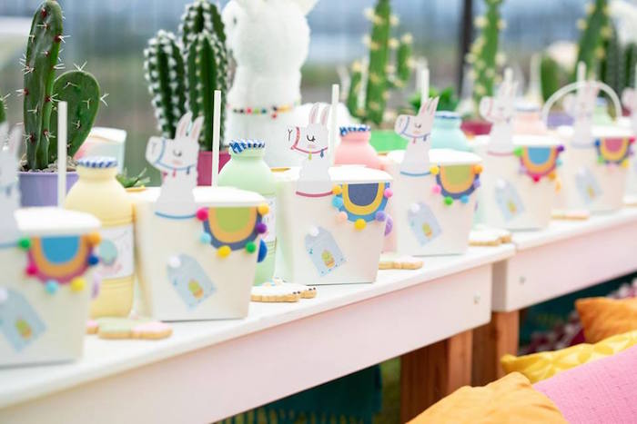 Llama Themed Table Settings from a Colorful Llama and Cactus Birthday Party on Kara's Party Ideas | KarasPartyIdeas.com (40)