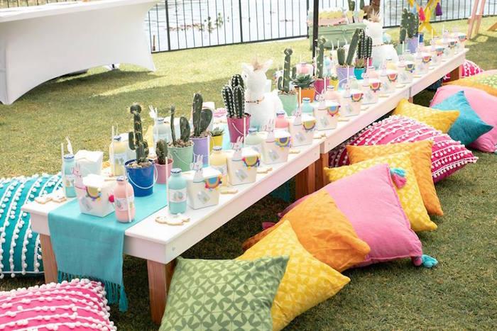Llama and Cactus Themed Party Table from a Colorful Llama and Cactus Birthday Party on Kara's Party Ideas | KarasPartyIdeas.com (39)