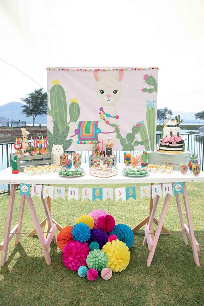 Llama Themed Dessert Table from a Colorful Llama and Cactus Birthday Party on Kara's Party Ideas | KarasPartyIdeas.com (38)