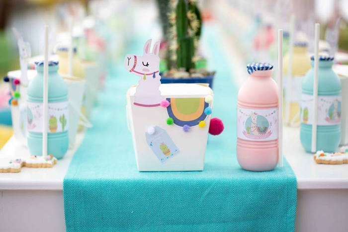 Llama Box Table Setting from a Colorful Llama and Cactus Birthday Party on Kara's Party Ideas | KarasPartyIdeas.com (36)