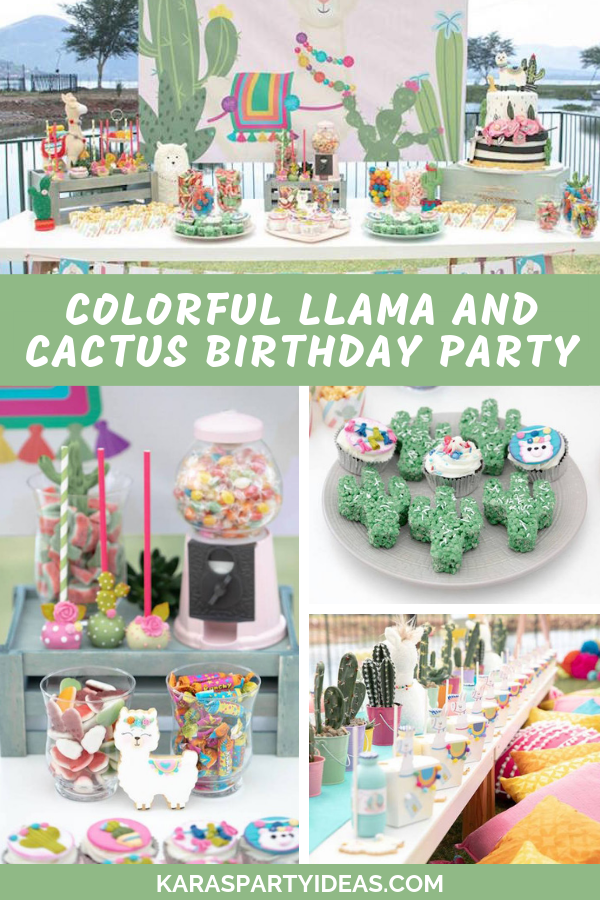 Colorful Llama and Cactus Birthday Party via Kara's Party Ideas - KarasPartyIdeas.com