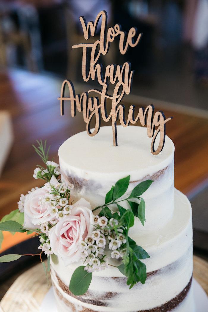 Boho Semi-naked Wedding Cake from a Country Boho Wedding on Kara's Party Ideas | KarasPartyIdeas.com (15)