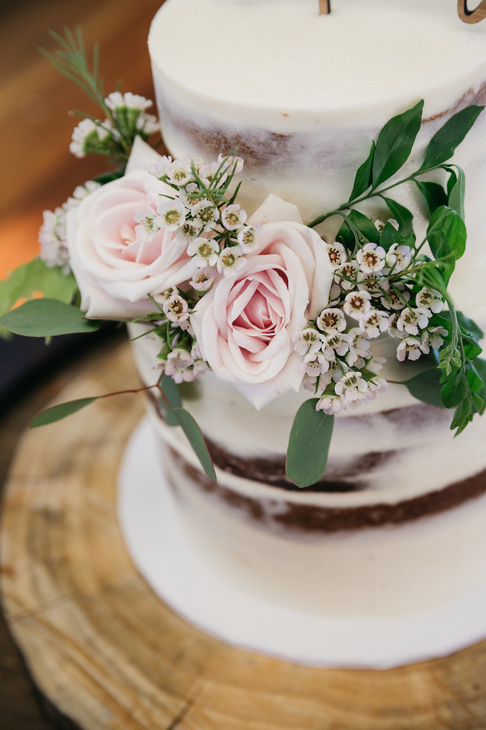 Cake Floral Arrangement from a Country Boho Wedding on Kara's Party Ideas | KarasPartyIdeas.com (14)