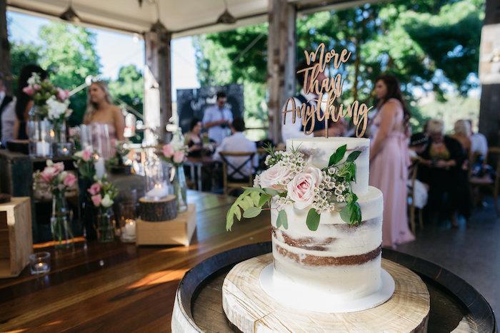 Boho Wedding Cake + Cake Barrel from a Country Boho Wedding on Kara's Party Ideas | KarasPartyIdeas.com (13)