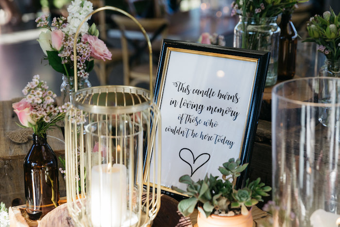 In Loving Memory - Candle + Sign from a Country Boho Wedding on Kara's Party Ideas | KarasPartyIdeas.com (11)