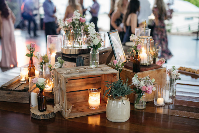 Crates + Candles & Blooms from a Country Boho Wedding on Kara's Party Ideas | KarasPartyIdeas.com (9)