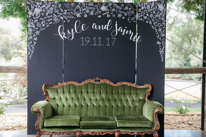Vintage Green Couch Photo Booth from a Country Boho Wedding on Kara's Party Ideas | KarasPartyIdeas.com (32)