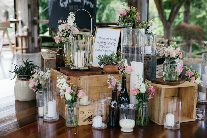 Wood Crates + Candles & Blooms from a Country Boho Wedding on Kara's Party Ideas | KarasPartyIdeas.com (29)