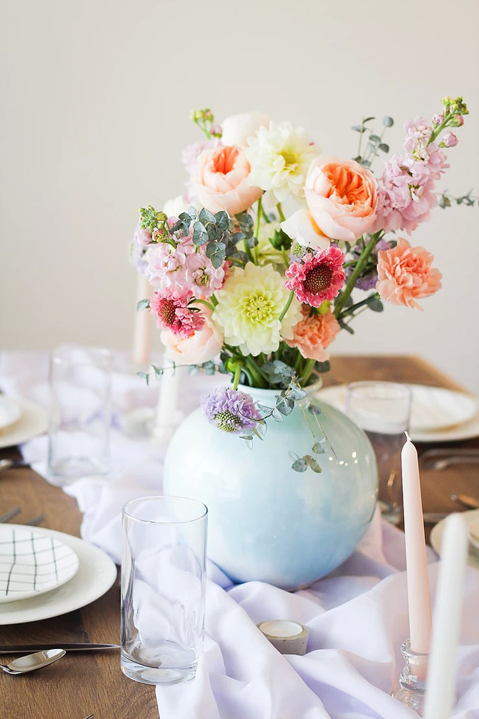 Spring Blooms + Floral Centerpiece from a DIY Sunny Spring Tablescape on Kara's Party Ideas | KarasPartyIdeas.com (8)