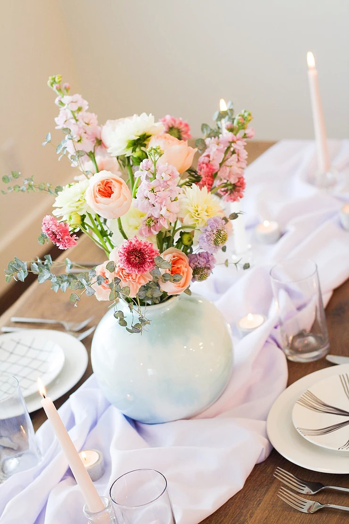 Spring Floral Arrangement + Centerpiece from a DIY Sunny Spring Tablescape on Kara's Party Ideas | KarasPartyIdeas.com (12)
