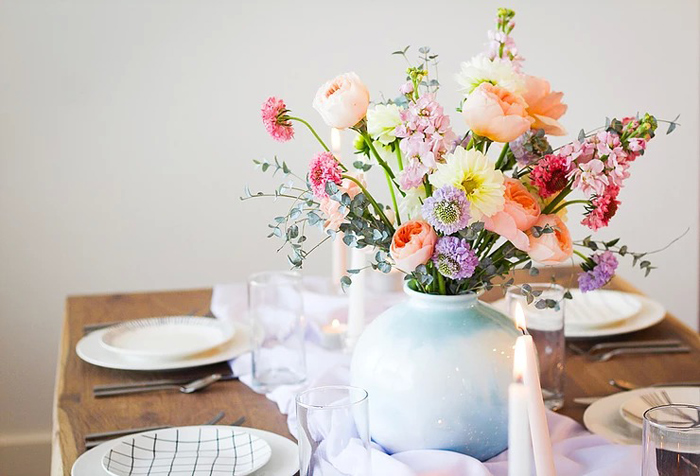 Spring Floral Arrangement + Centerpiece from a DIY Sunny Spring Tablescape on Kara's Party Ideas | KarasPartyIdeas.com (10)