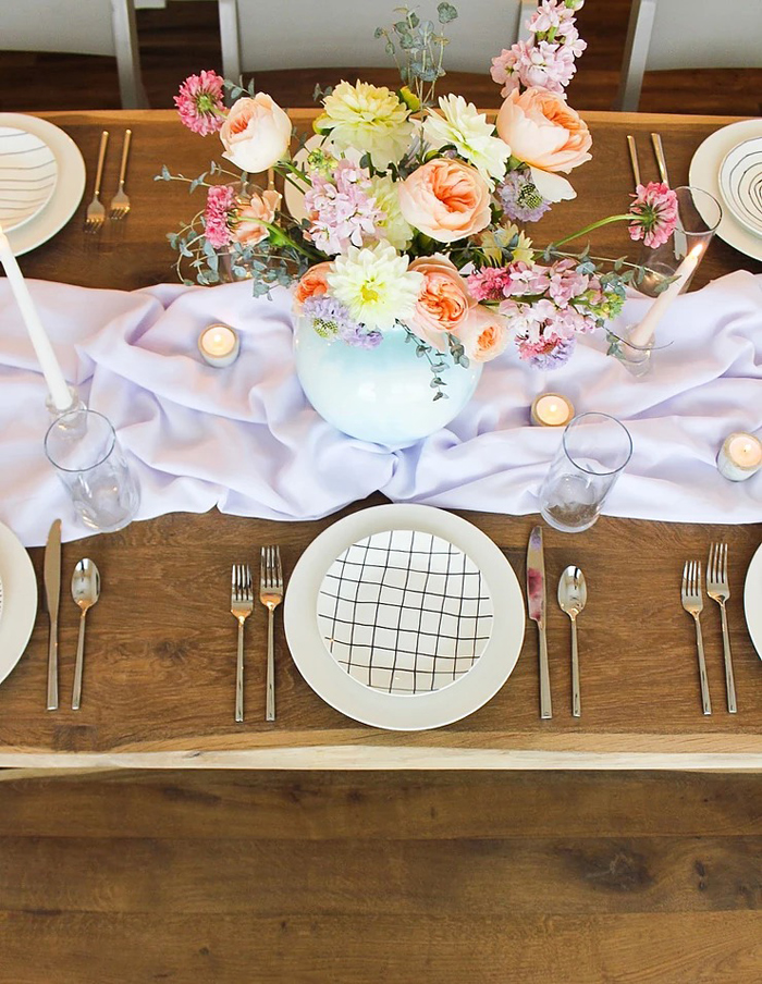 Mono Glam Table Setting from a DIY Sunny Spring Tablescape on Kara's Party Ideas | KarasPartyIdeas.com (9)