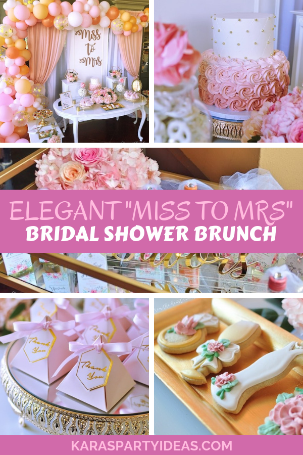"Elegant ""Miss to Mrs"" Bridal Shower Brunch via Kara's Party Ideas - KarasPartyIdeas.com"