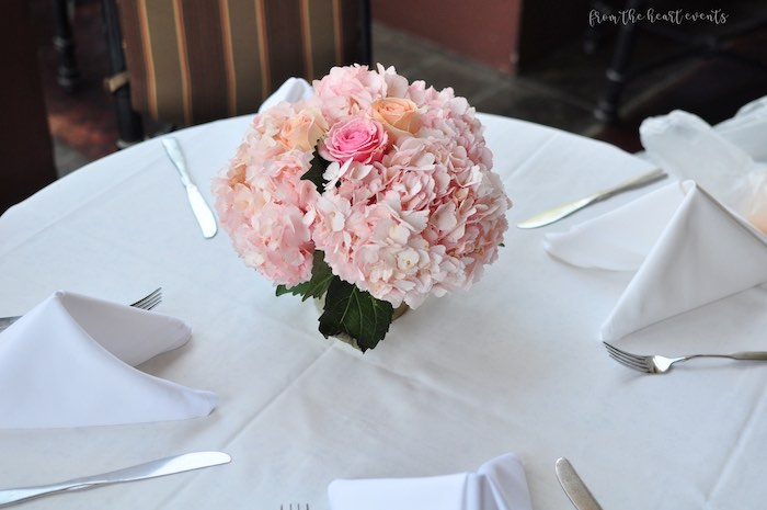 "Guest Table with Pink Floral Centerpiece from an Elegant ""Miss to Mrs"" Bridal Shower Brunch on Kara's Party Ideas 