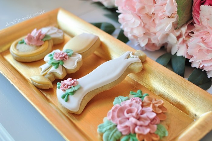 "Wedding Themed Sugar Cookies from an Elegant ""Miss to Mrs"" Bridal Shower Brunch on Kara's Party Ideas 