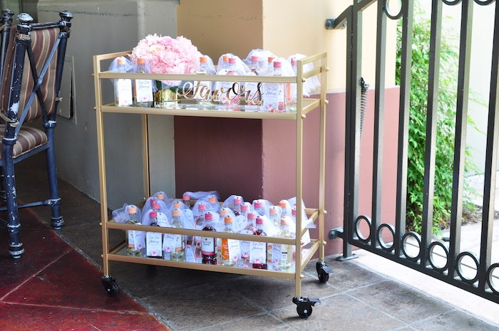 "Favor Cart from an Elegant ""Miss to Mrs"" Bridal Shower Brunch on Kara's Party Ideas 