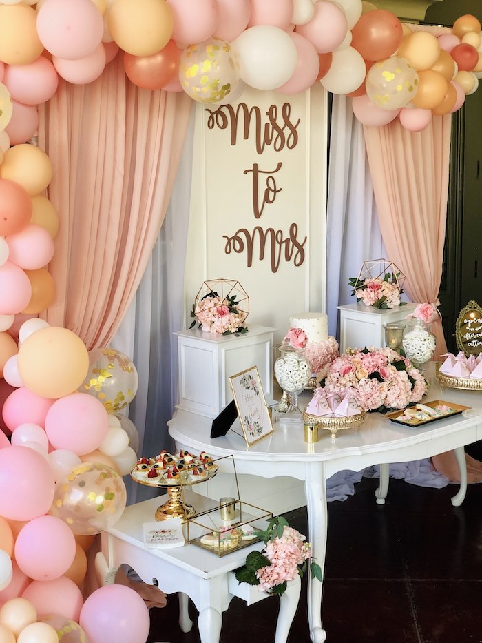 "Miss to Mrs Sweet Table from an Elegant ""Miss to Mrs"" Bridal Shower Brunch on Kara's Party Ideas 