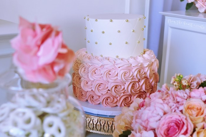 "Pink + White Polka Dot Rosette Cake from an Elegant ""Miss to Mrs"" Bridal Shower Brunch on Kara's Party Ideas 