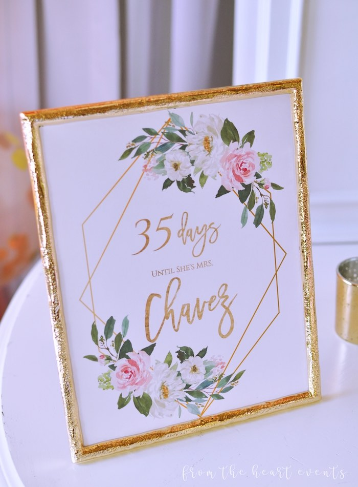 "Floral Countdown Signage + Print from an Elegant ""Miss to Mrs"" Bridal Shower Brunch on Kara's Party Ideas 