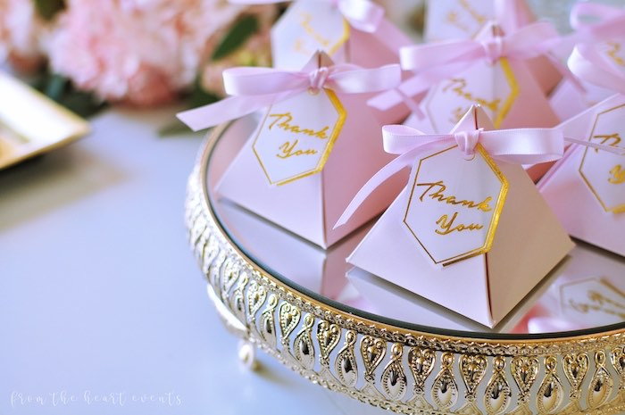 "Pink Favor Pyramids from an Elegant ""Miss to Mrs"" Bridal Shower Brunch on Kara's Party Ideas 