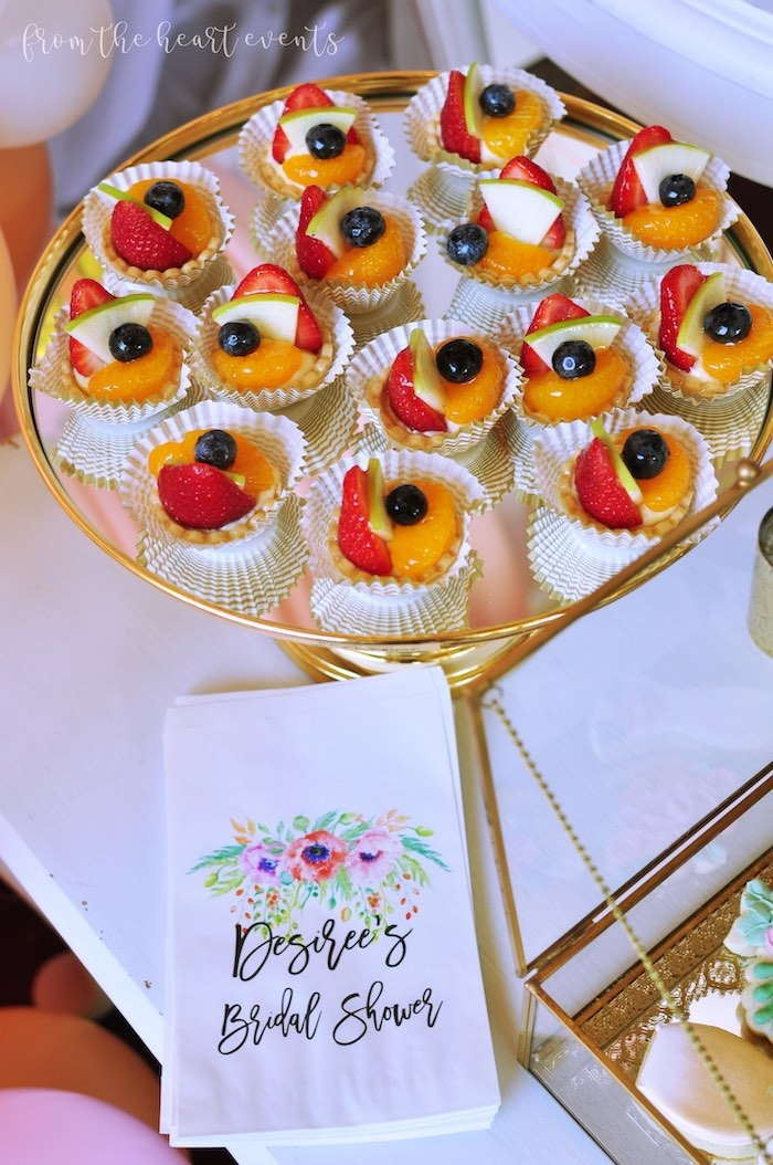 "Fruit Tarts from an Elegant ""Miss to Mrs"" Bridal Shower Brunch on Kara's Party Ideas 