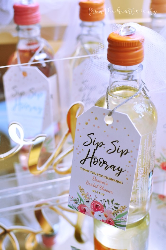 "Sip Sip Hooray - Drink Favor from an Elegant ""Miss to Mrs"" Bridal Shower Brunch on Kara's Party Ideas 