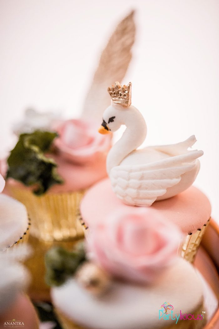 Swan Cupcake from an Elegant Swan Soiree on Kara's Party Ideas | KarasPartyIdeas.com (23)
