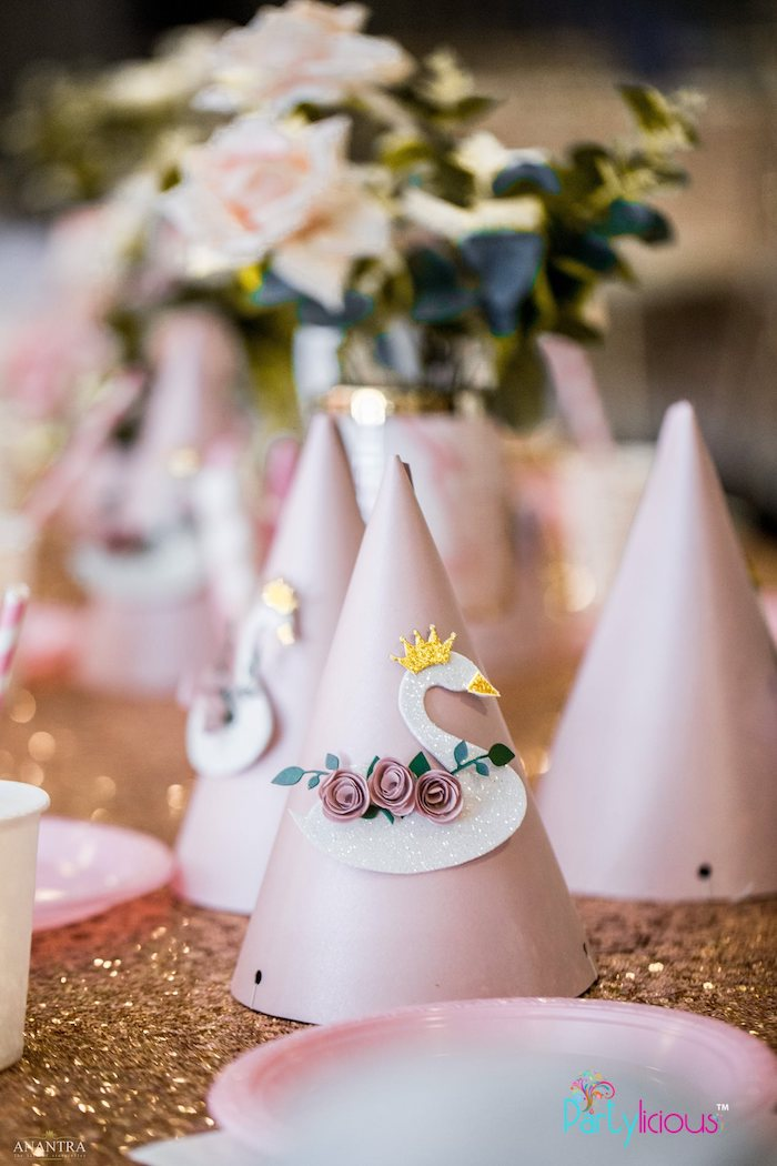 Swan-adorned Party Hat from an Elegant Swan Soiree on Kara's Party Ideas | KarasPartyIdeas.com (21)