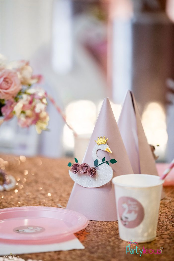 Swan Party Hat + Table Setting from an Elegant Swan Soiree on Kara's Party Ideas | KarasPartyIdeas.com (20)
