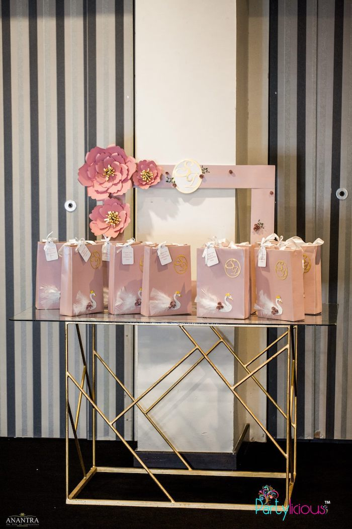 Modern Gold Favor Bag Table from an Elegant Swan Soiree on Kara's Party Ideas | KarasPartyIdeas.com (16)