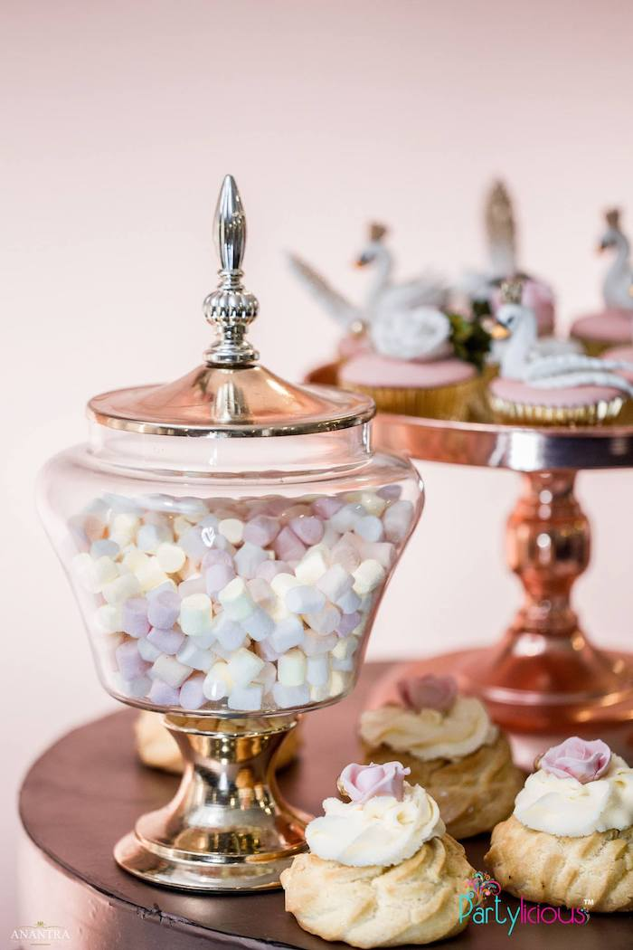 Gold Apothecary Candy Jar from an Elegant Swan Soiree on Kara's Party Ideas | KarasPartyIdeas.com (14)