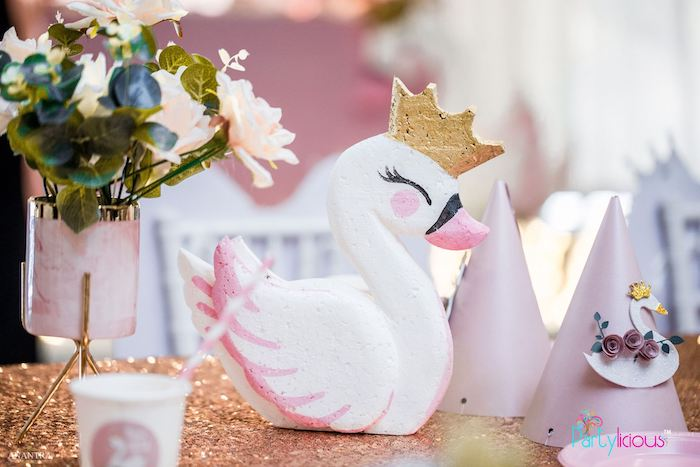Swan Centerpiece from an Elegant Swan Soiree on Kara's Party Ideas | KarasPartyIdeas.com (10)