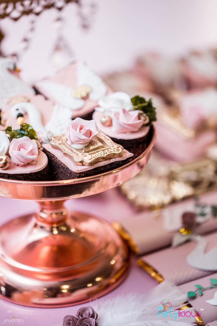 Rose Brownies from an Elegant Swan Soiree on Kara's Party Ideas | KarasPartyIdeas.com (8)