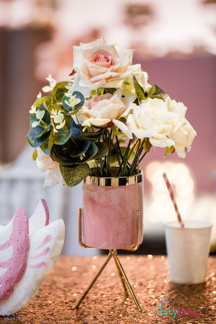 Modern Glam Floral Centerpiece from an Elegant Swan Soiree on Kara's Party Ideas | KarasPartyIdeas.com (7)