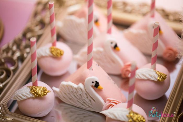 Swan-inspired Cake Pops from an Elegant Swan Soiree on Kara's Party Ideas | KarasPartyIdeas.com (6)