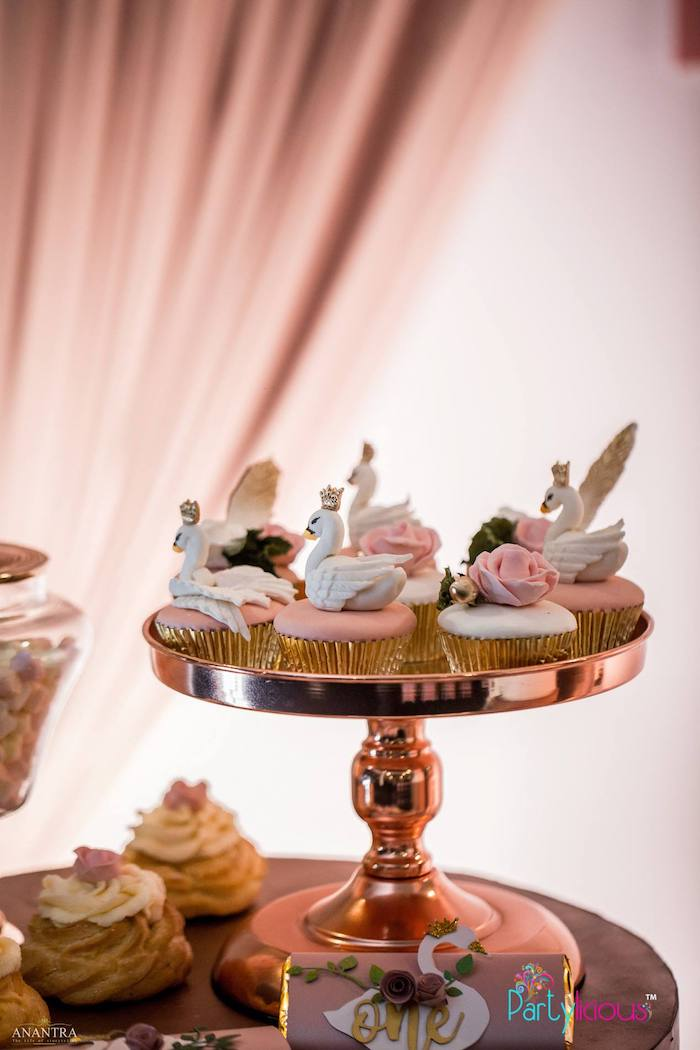 Swan Themed Cupcakes atop a Gold Dessert Pedestal from an Elegant Swan Soiree on Kara's Party Ideas | KarasPartyIdeas.com (33)