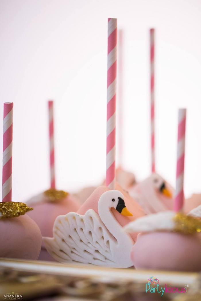 Swan-inspired Cake Pops from an Elegant Swan Soiree on Kara's Party Ideas | KarasPartyIdeas.com (5)