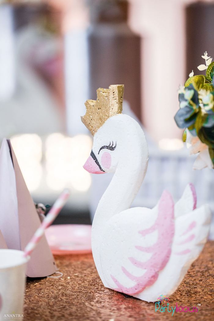 Pink + White Swan Centerpiece from an Elegant Swan Soiree on Kara's Party Ideas | KarasPartyIdeas.com (28)