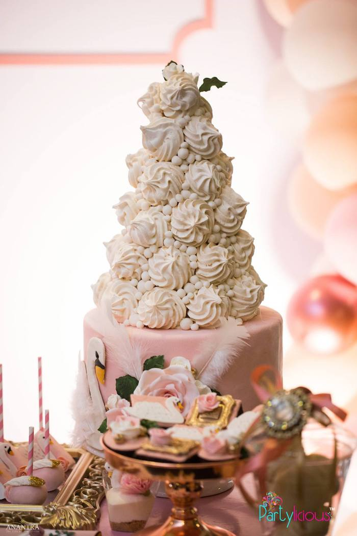 White Meringue Tower from an Elegant Swan Soiree on Kara's Party Ideas | KarasPartyIdeas.com (27)