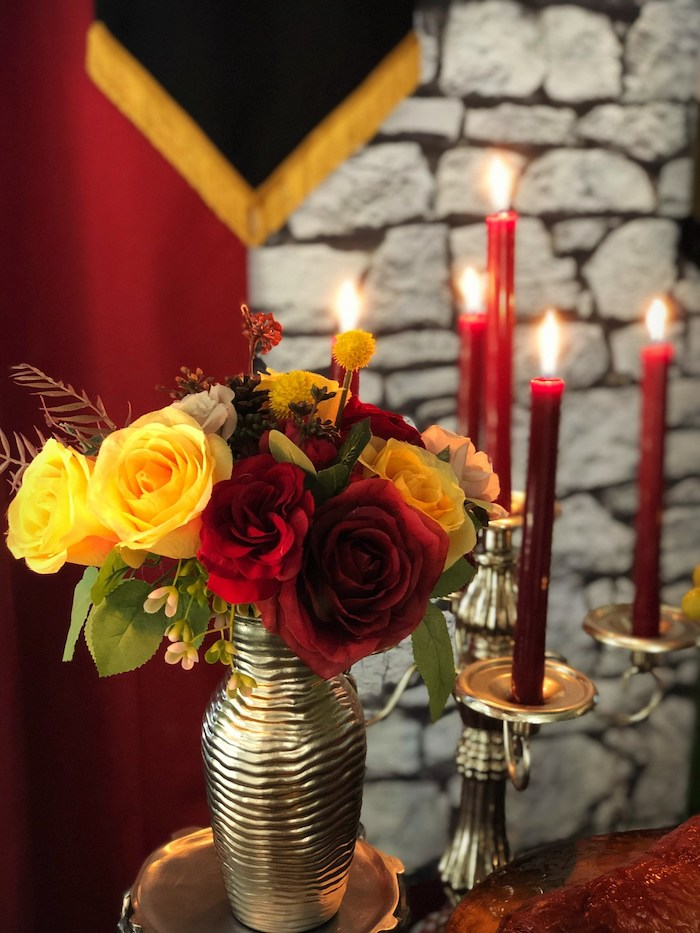 Red + Yellow Floral Arrangement from a Game of Thrones Party on Kara's Party Ideas | KarasPartyIdeas.com (19)