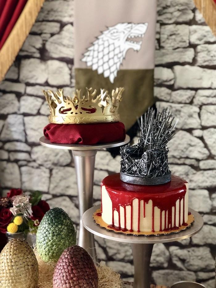Game of Thrones Cake + Joffrey Baratheon's Crown from a Game of Thrones Party on Kara's Party Ideas | KarasPartyIdeas.com (16)