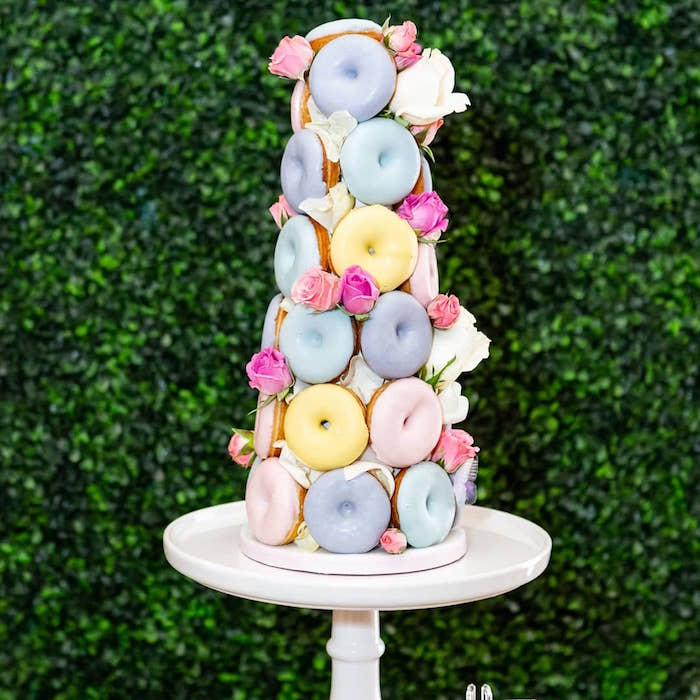 Rose Garden Donut Tower from a Garden First Birthday Party on Kara's Party Ideas | KarasPartyIdeas.com (14)