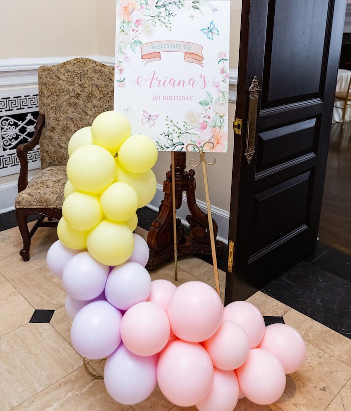 Garden Balloon Garland Welcome Sign from a Garden First Birthday Party on Kara's Party Ideas | KarasPartyIdeas.com (9)