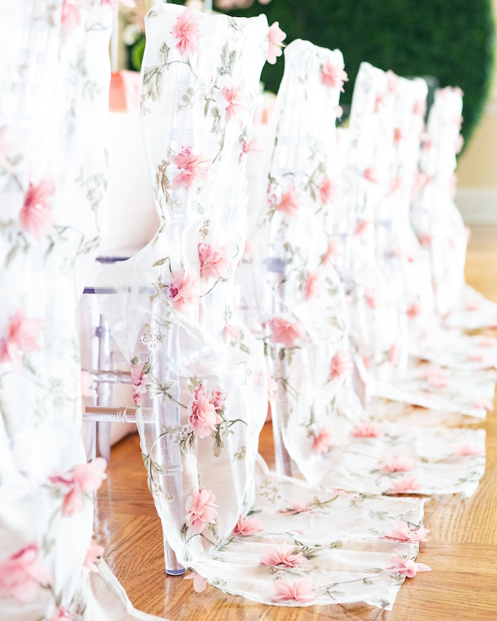 Sheer Flower-adorned Chair Drapes from a Garden First Birthday Party on Kara's Party Ideas | KarasPartyIdeas.com (19)