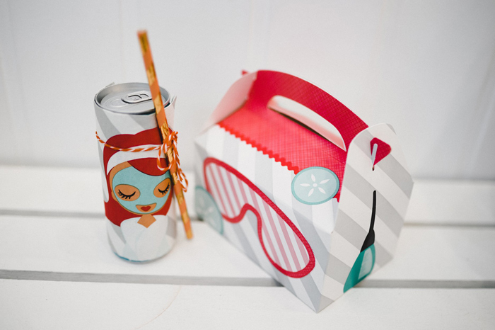 Spa Themed Gable Lunch Box + Drink Can from a Girls' Day Out Spa Birthday Party on Kara's Party Ideas | KarasPartyIdeas.com (12)