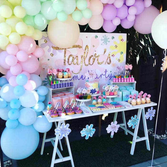 Slime-inspired Dessert Table from a Girly Science Party on Kara's Party Ideas | KarasPartyIdeas.com (11)