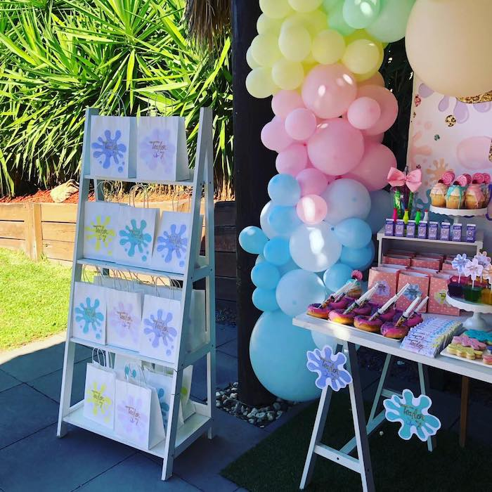 Favor Bag Shelf from a Girly Science Party on Kara's Party Ideas | KarasPartyIdeas.com (8)